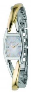 Dkny Ladies Bi Colour Stainless Steel Bangle Watch With Mother Of Pearl Dial