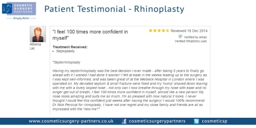 A patient testimonial - Nose Job - Rhinoplasty surgery