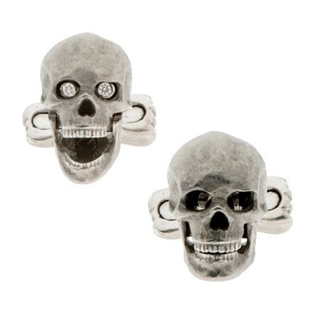 18ct White Gold Diamond Skull and Bones Cufflinks