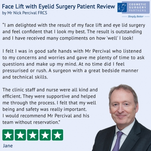 Face Lift patient review for surgeon Nick Percival