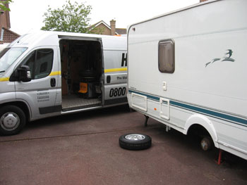 Fitting new tyres to a caravan