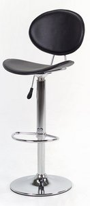 Mathilda Gas Lift Stool, Black Padded Leather Upholstery.