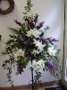 white and blue pedestal arrangement
