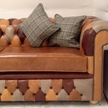 Brown Leather Custom Made Corner Sofa