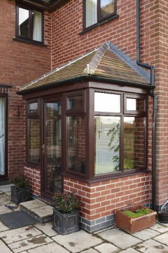 Rosewood PVCu Porch, With Rosemary Tiled Roof