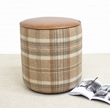 Tan Leather And Tartan Drum stool