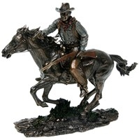 Bronze Screen Legend Cowboy Riding 26 X 30 X 10cm