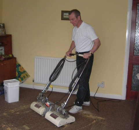 Dry carpet cleaning using the Host Dry Extraction System.