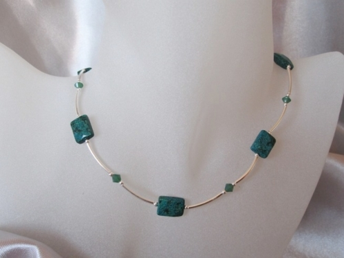 Green Chrysocolla Jasper, Swarovski Crystals & Sterling Silver Necklace - SSN0175
