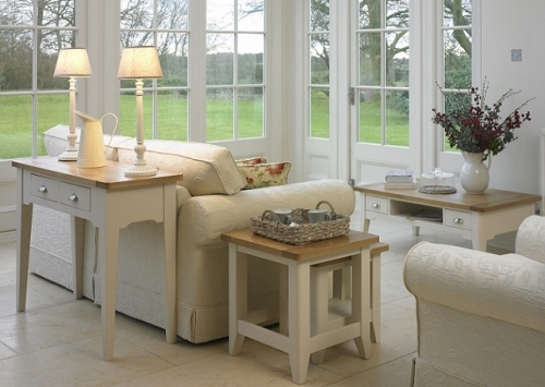 Cottage Oak and Painted Dining and Living Room Furniture