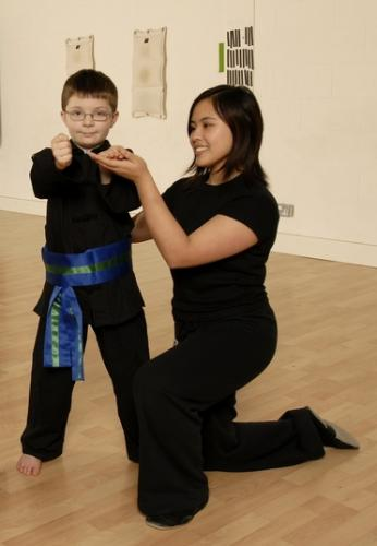 Kung Fu Schools Croydon Instructor with a junior student
