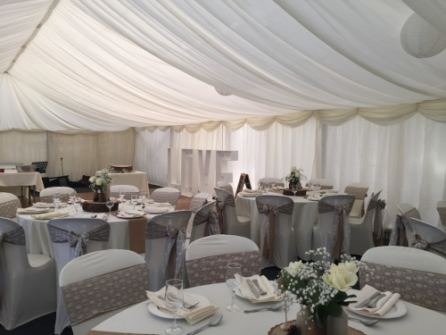 9m wide wedding marquee fully lined