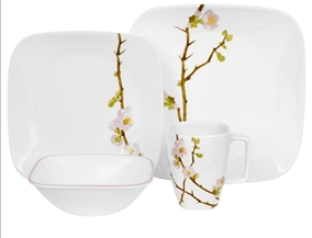 Corelle Cherry Blossom Square 16pc Dinner Set