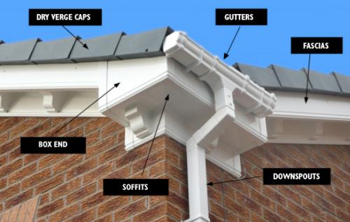 Double Ogee Fascia Boards with Ogee deep flow gutters and Dentil Moulds, grey dry verge caps