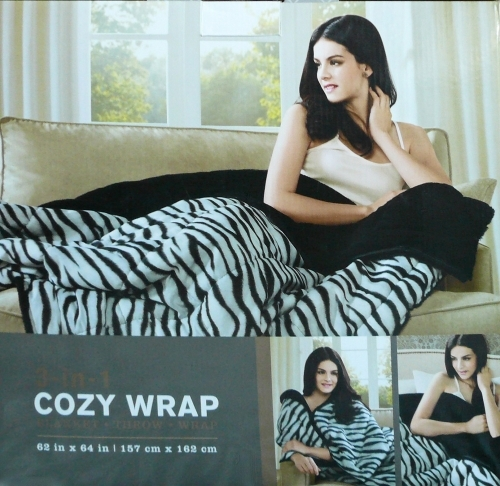 3-in-1 Quilted Cosy Snuggle Wrap Blanket Throw with soft Faux fur lining in zebra black and white design
