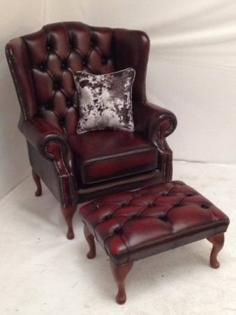Leather Chesterfield Armchair with Footstool
