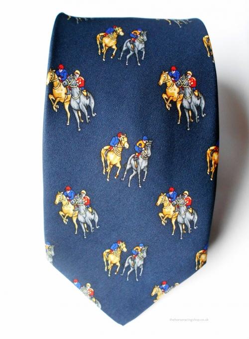 Horse Racing Tie Blue
