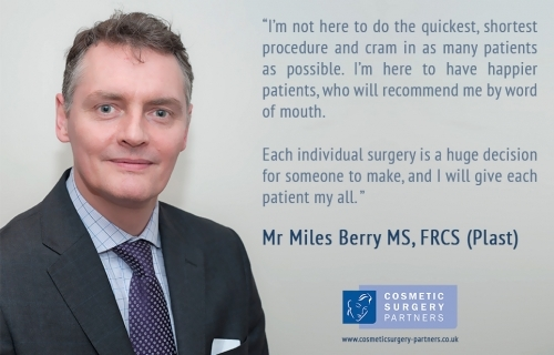 Our surgeon Mr Miles Berry MS, FRCS Plast