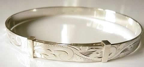 Heavy Hand Engraved Expanding Silver Bangle