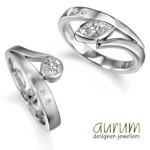 Flick engagement rings with diamonds
