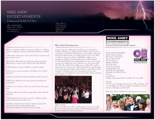 Mike Andy Entertainments Brochure Inside