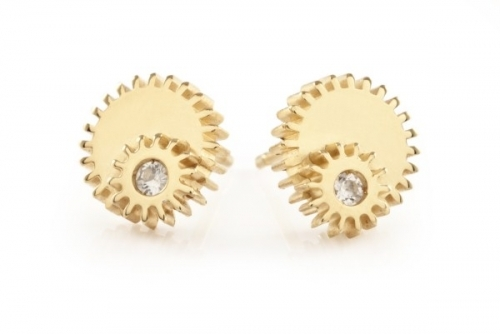 Gold Double Winding Wheel Studs With White Sapphires by Clarice Price-Thomas