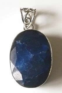 Natural Sapphire Oval Pendant
