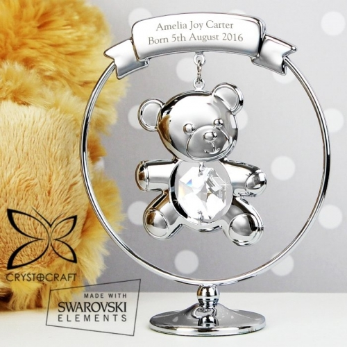 Personalised crystocraft teddy bear ornament.