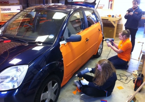 Its A Wrap - Fiesta full wrap in progress - from blue to orange