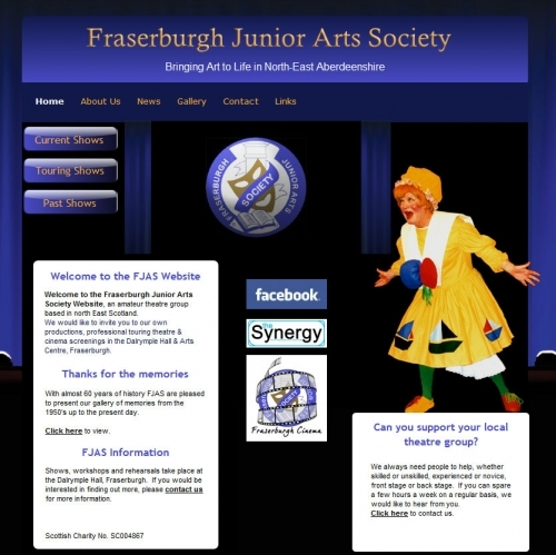Fraserburgh Junior Arts Society - Flash animation and extensive gallery