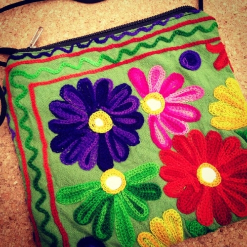 Green Shoulder Bag with Kashmir patterns