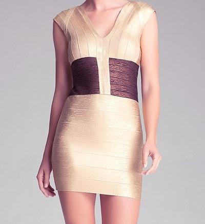 Stunning Gold Foil Print Celeb Bandage Dress