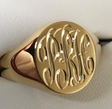 signet ring with hand engraved monogram PRH