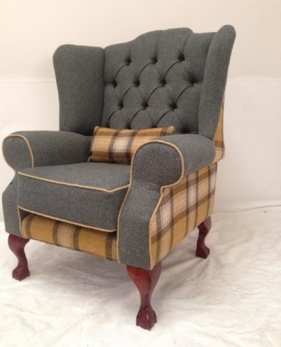 Grey Fabric Armchair with Button Detail