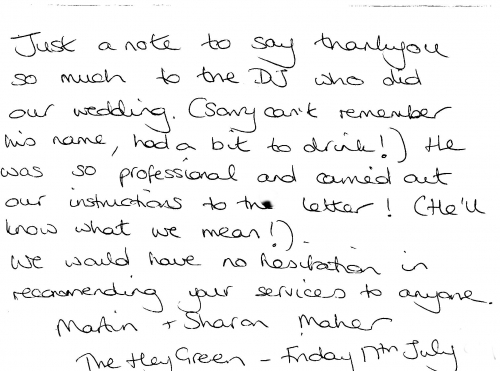 Mike Andy Entertainments Thank You Letter From The Hey Green Bride & Groom