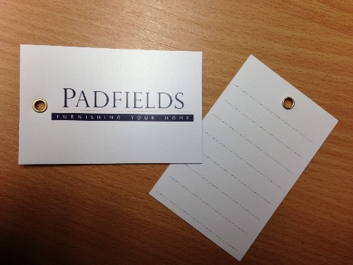 Eyeletted Tags printed for Padfields