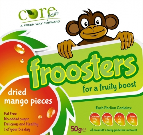 Froosters Mango Front - start-up project. Complete brand Identity, name registration, logo design, packaging design and supporting marketing material.