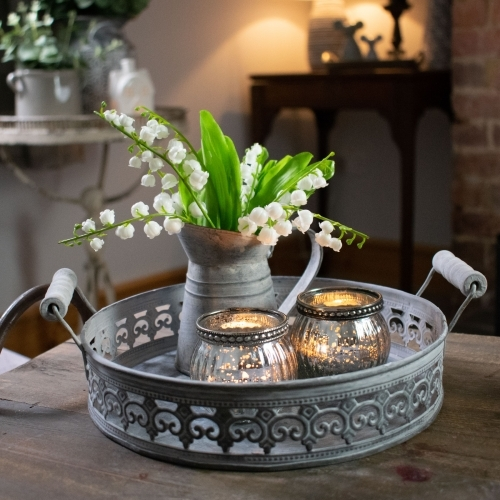 Round Tray with Zinc Jug and Tealights