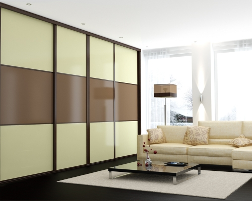 Beijing 3 Equal Split Panels with Buttermilk and Light Brown Glass Panels with High Gloss Wenge Tracks and Framework