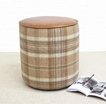 Tan Leather And Tartan Drum stool