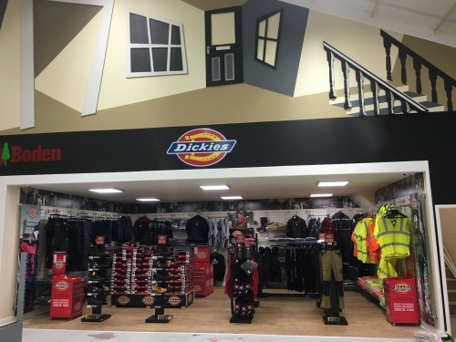 Large Dickies workwear display