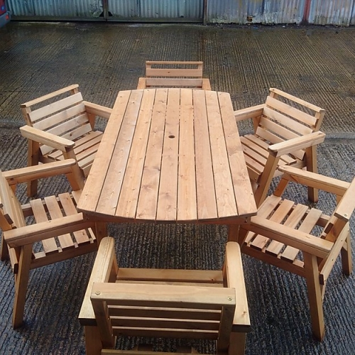 Classic Hand Made Garden Furniture Set - 6 Foot Table - 6 Chairs
