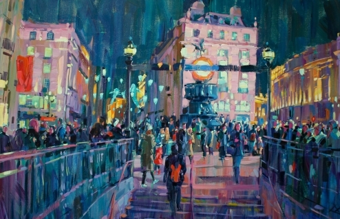 "Hashim Akib ""Piccadilly"" Acrylic on Canvas 60cmx90cm £795"