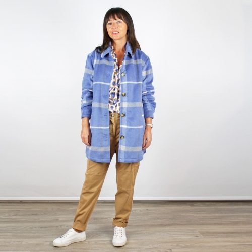 B Young Check Coat Sky Blue