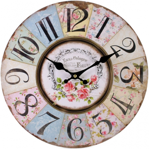 Shabby Chic Rose Wooden Floral Clock