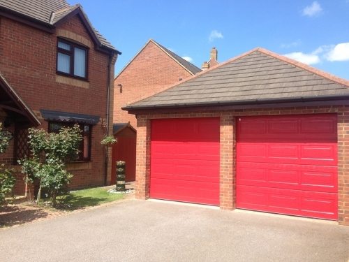 Cartek Insulated Sectional Garage Doors in red