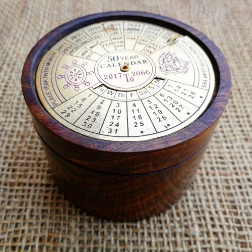 50 Year Perpetual Calendar & Wooden Storage Pot