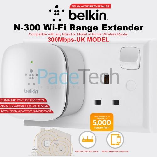 Belkin N300 Universal Wi Fi Range Extender Wireless Signal Booster Easy Setup