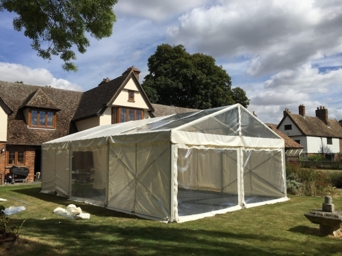 6m X 9m Marquee with a Clear Roof and panoramic windows