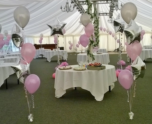Gorgeous Silver And Pastel Pink Balloon Arrangements!